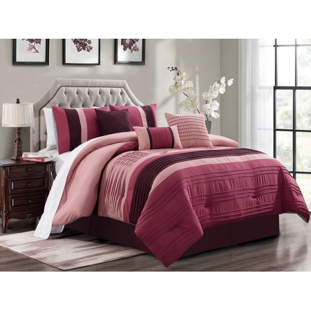 7-Pc Liana Pleated Pintuck Stripe Comforter Set Rose Pink Purple Rouge Punch Queen