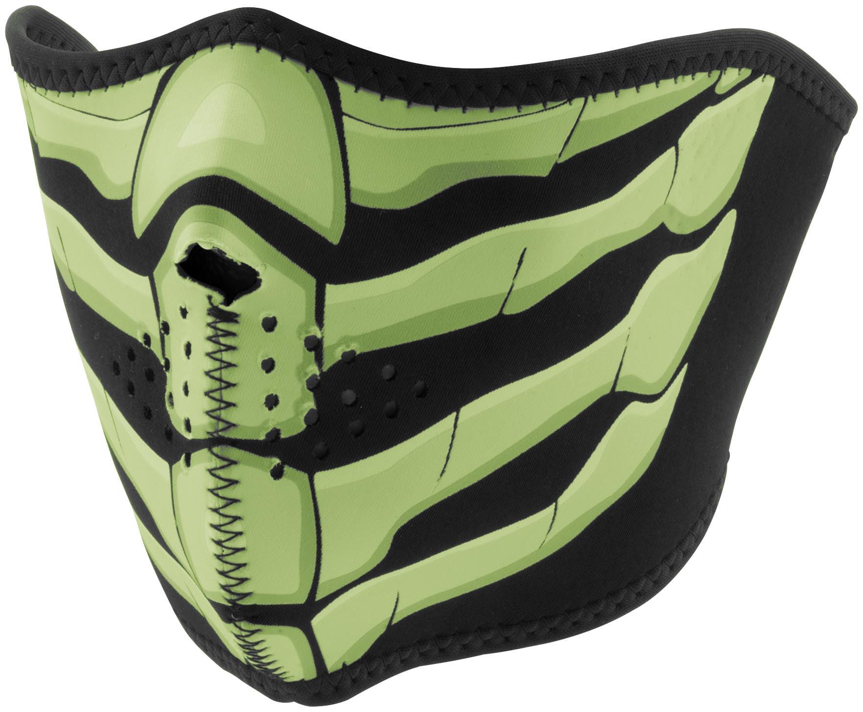 Zan Headgear Half Face Mask Glow Bone Breath (Green, OSFM) by Zan Headgear