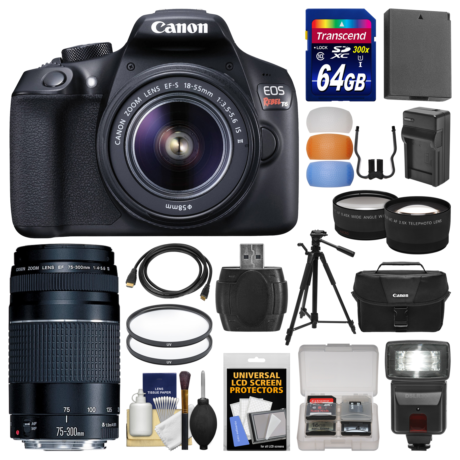 Buy Canon EOS Rebel T6 Wi-Fi Digital SLR Camera & EF-S 18-55mm IS II with 75-300mm III Lens +... by Canon