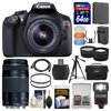 Canon EOS Rebel T6 Wi-Fi Digital SLR Camera & EF-S 18-55mm IS II with 75-300mm III Lens + 64GB Card + Case + Flash + Battery & Charger + Tripod + Kit Kit Includes 14 Items with all Manufacturer-supplied Accessories + Full USA Warranties: 1) Canon EOS Rebel T6 Wi-Fi Digital SLR Camera + EF-S 18-55 IS II + 75-300 III Lens + Bag 2) Transcend 64GB SecureDigital SDXC 300x UHS- Class 10 Memory Card 3) Spare LP-E10 Battery for Canon 4) Battery Charger for Canon LP-E10 5) Precision Design DSLR300 High Power Auto Flash 6) Precision Design PD-58PVTR 58 in Photo/Video Tripod with Case 7) Precision Design 2.5x Telephoto + .45x Wide-Angle Digital Lenses (49mm/52mm/55mm/58mm) 8) 2 Vivitar 58mm UV Glass Filter 9) Universal Flash Diffuser Set 10) PD HDMI to Mini-HDMI Cable 11) PD SD/SDHC MicroSD Reader 12) PD 6pc Complete Cleaning Kit 13) PD 8 SD Card Memory Card Case 14) LCD Screen Protectors Canon EOS Rebel T6 Wi-Fi Digital SLR Camera and EF-S 18-55mm IS II and 75-300mm III Lens and Bag Share photos that impress.