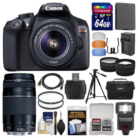Canon Eos Rebel T6 Wi Fi Digital Slr Camera   Ef S 18 55Mm Is Ii With 75 300Mm Iii Lens   64Gb Card   Case   Flash   Battery   Charger   Tripod   Kit