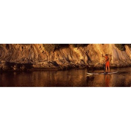 Paddle-boarder in river  Santa Barbara  California  USA Poster Print by  - 36 x 12 - image 1 of 1