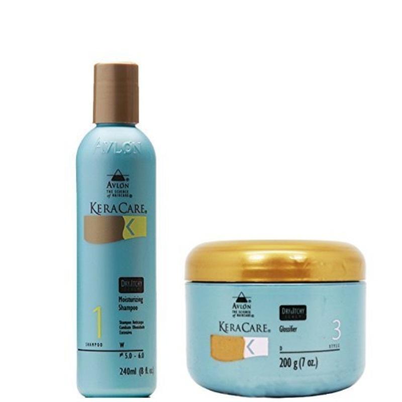 Keracare Dry and Itchy Scalp Anti-dandruff Moisturizing Shampoo 8 oz + Glossifier 7 oz by Avlon