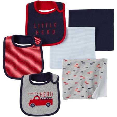 Child of Mine by Carter's Newborn Baby Boy Bib And Burpcloth 6-Piece Set