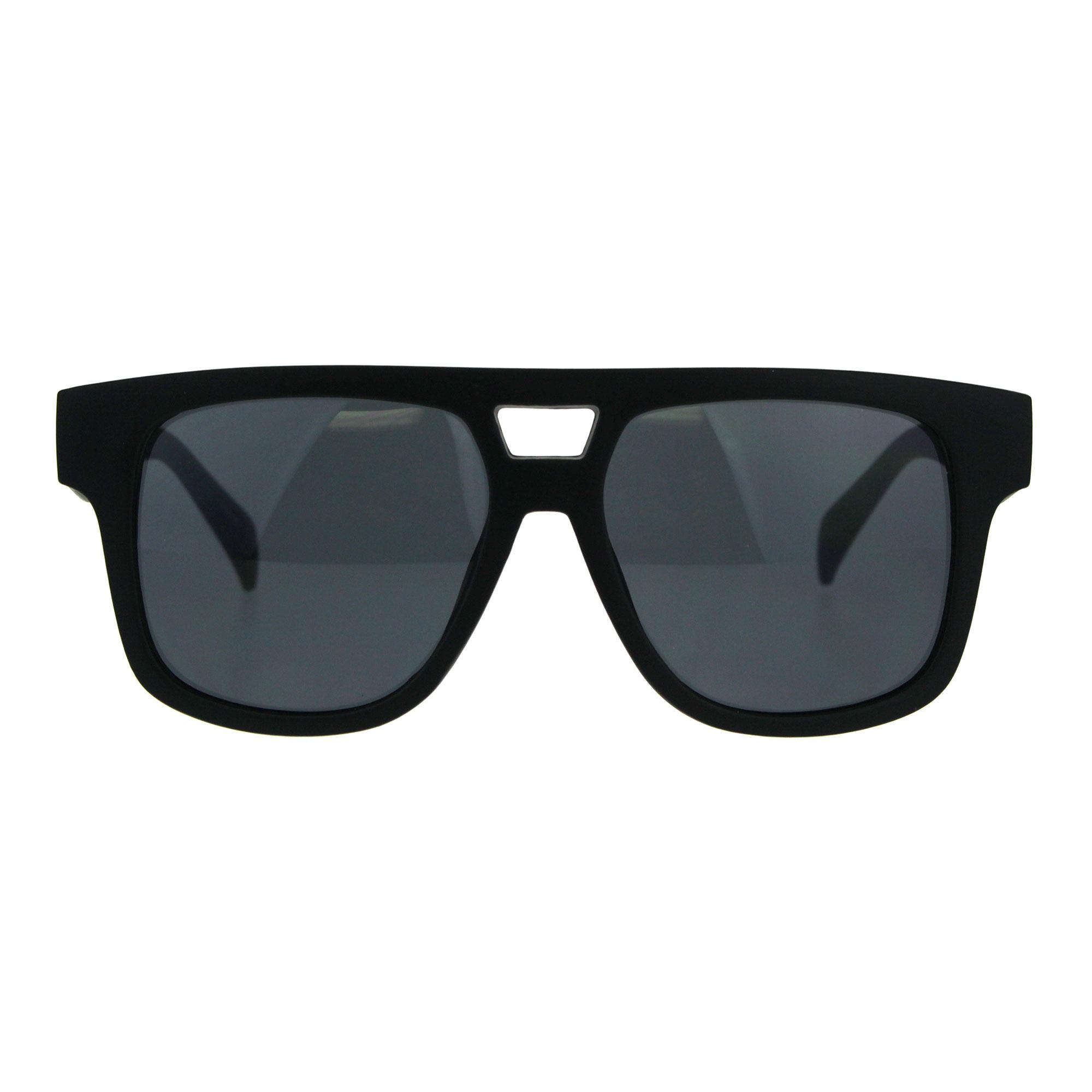 Mens Flat Top Horn Rim Mob Thick Plastic Sunglasses