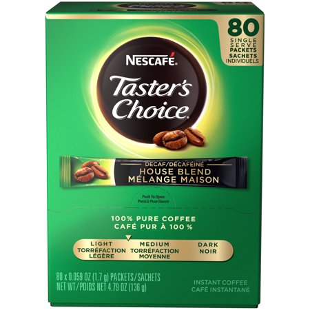 Nescafé Taster's Choice Decaf House Blend Instant Coffee Packets, Mild Roasted, 80 Count