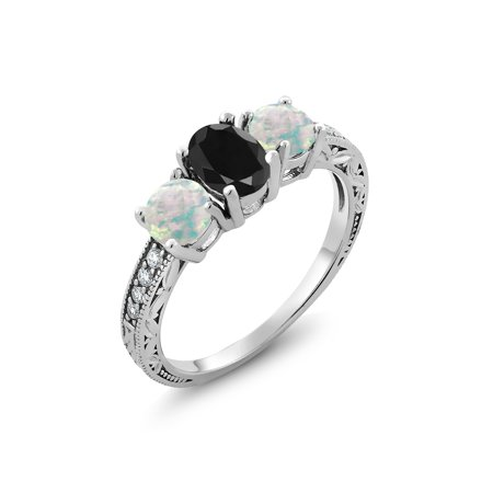 2.19 Ct Oval Black Sapphire White Simulated Opal 925 Sterling Silver Ring