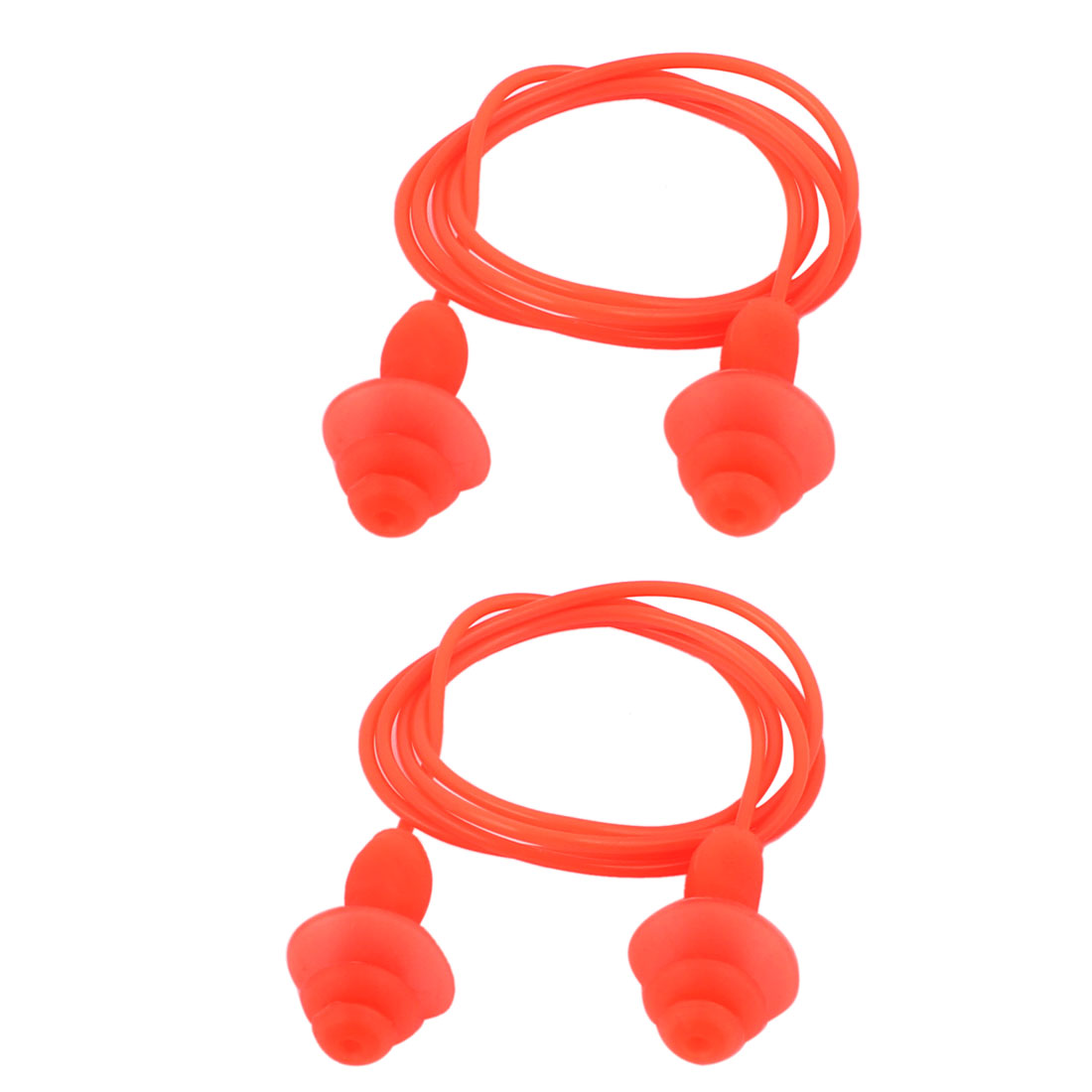 Soft Silicone Swimming String Earplug Ear Plugs Protector Orange 2pcs