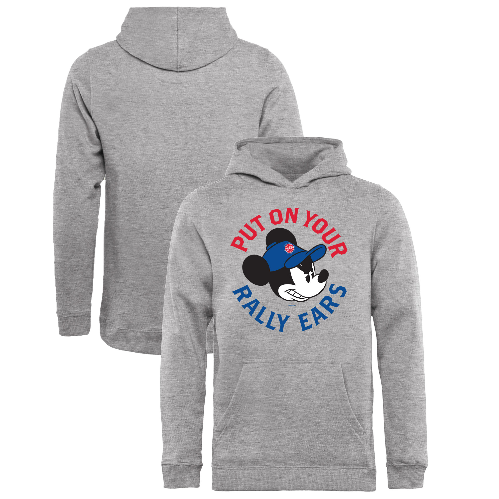 Detroit Pistons Fanatics Branded Youth Disney Rally Ears Pullover Hoodie - Ash