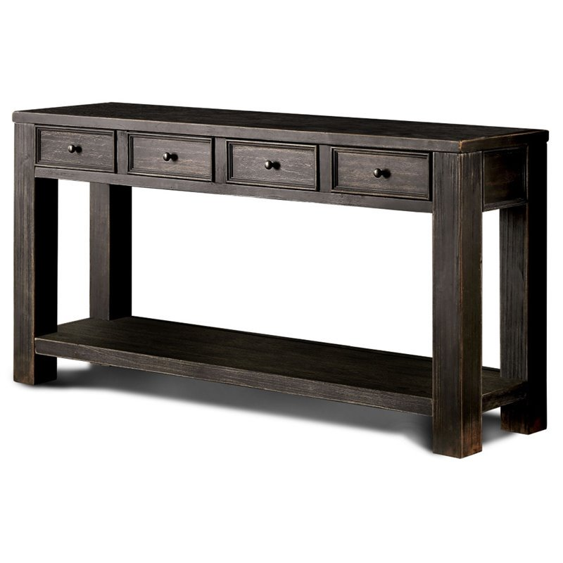 Furniture of America Falima Console Table in Antique Black