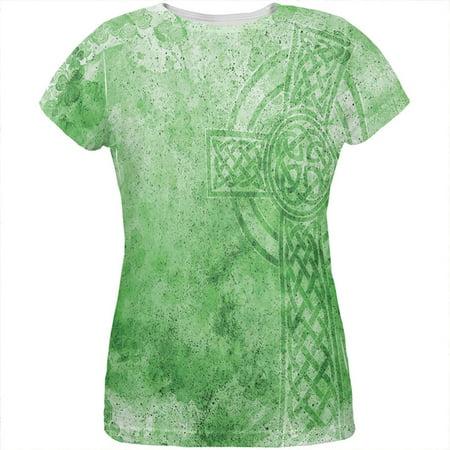 St. Patricks Day Dirty Irish Celtic Cross All Over Womens T Shirt