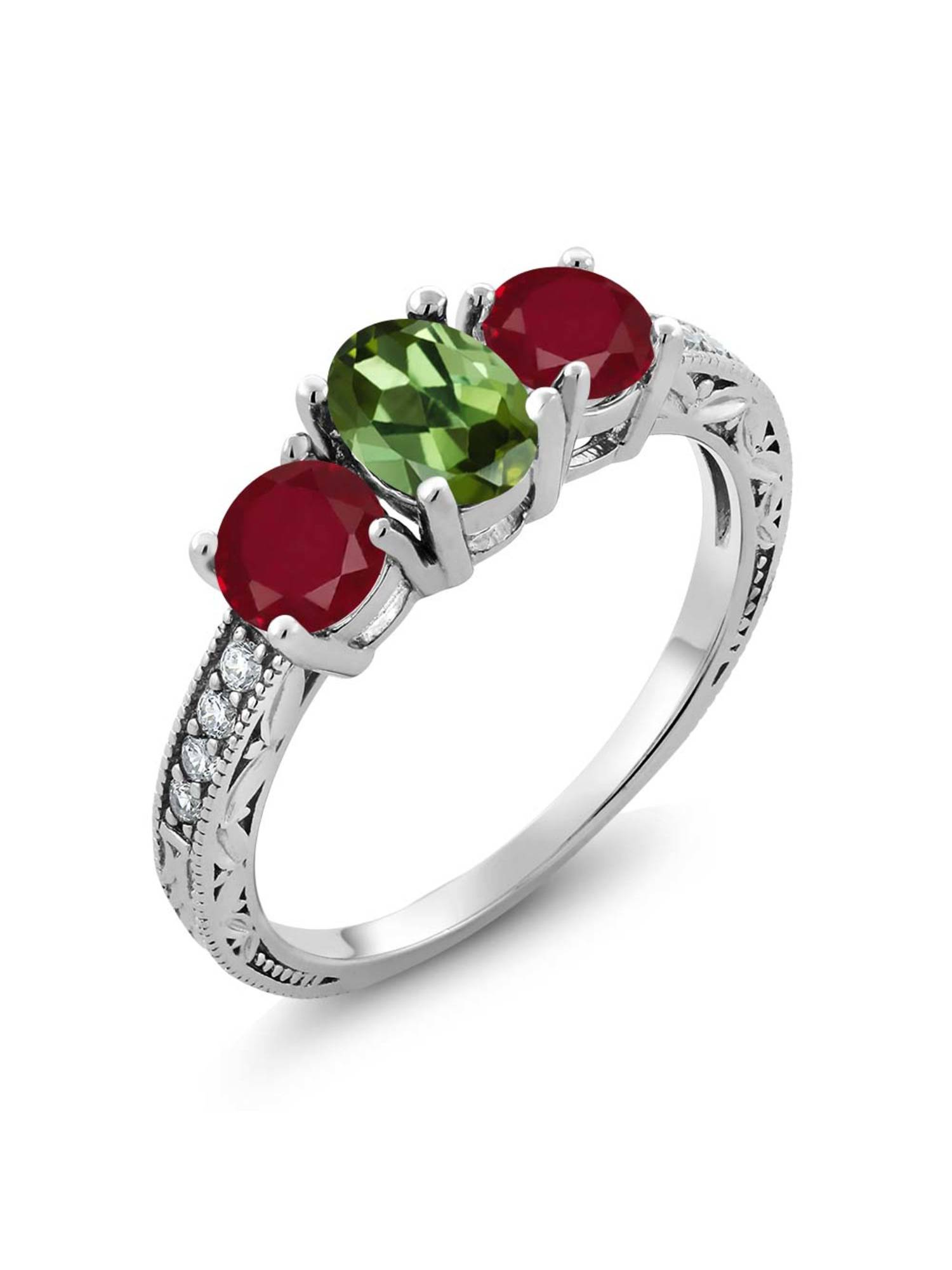 Gem Stone King 1.92 Ct Oval Green Tourmaline Red Ruby 925 Sterling Silver Ring by