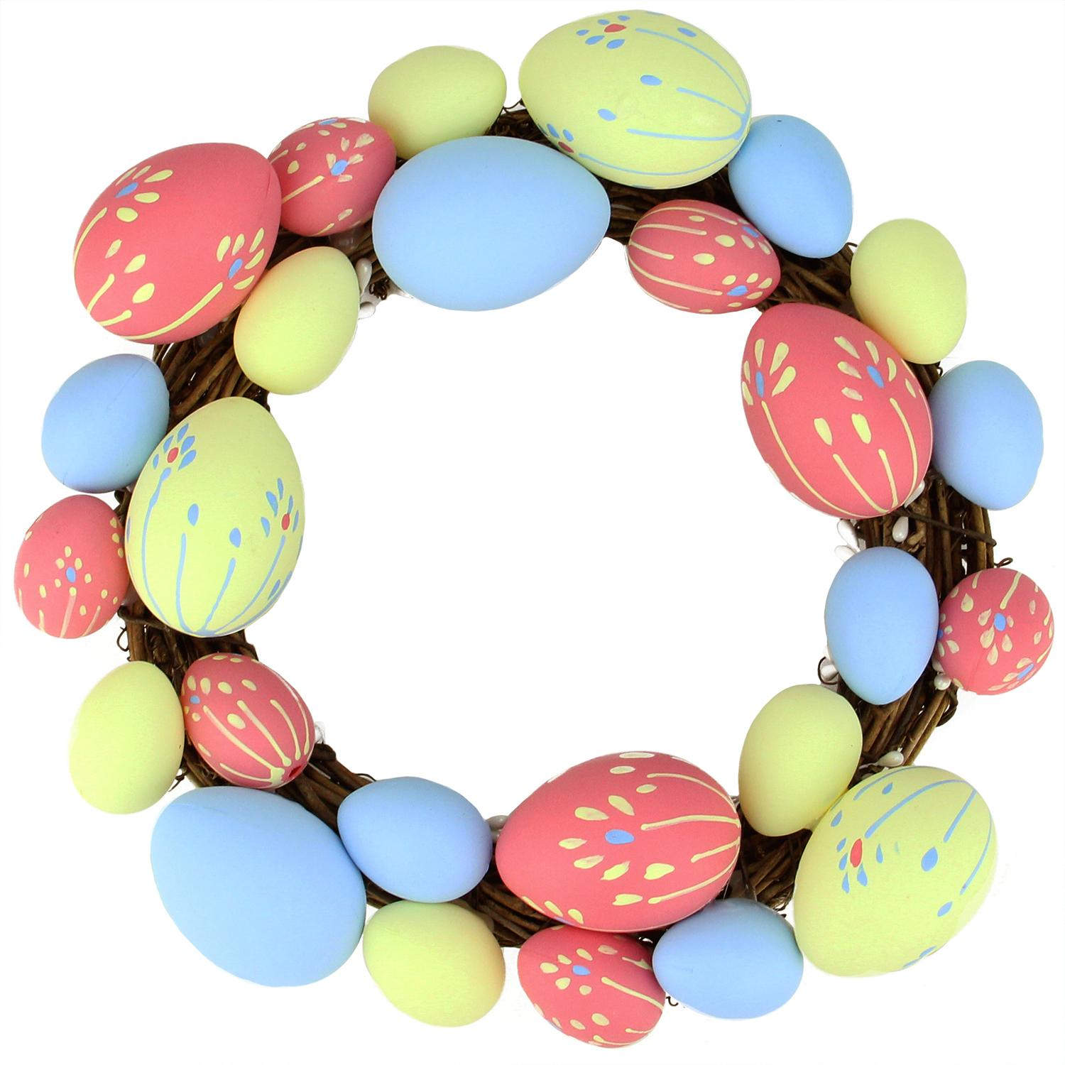 """10"""" Pink Yellow and Blue Floral Stem Easter Egg Spring Grapevine Wreath"""