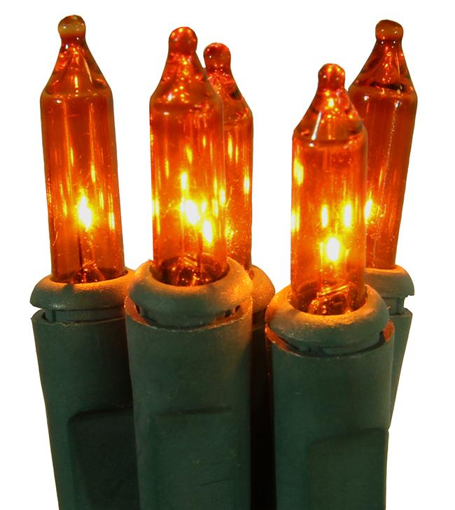 Set of 50 Super Bright Orange Mini Christmas Lights - Green Wire