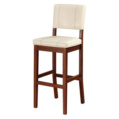 Linon Milano Bar Stool, Cream, 30 inch Seat Height