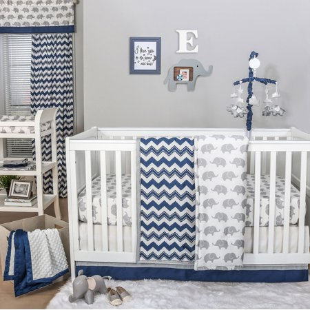 The Peanut Shell 4 Piece Baby Crib Bedding Set Navy Blue