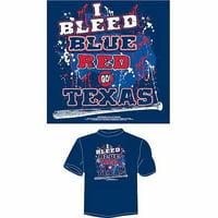 "Texas Baseball ""I Bleed Blue and Red, Go Texas"" T-Shirt, Blue"