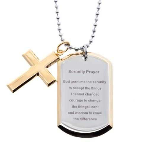 GLLC Stainless Steel and Yellow IP Dog Tag and Cross Serenity Prayer Necklace