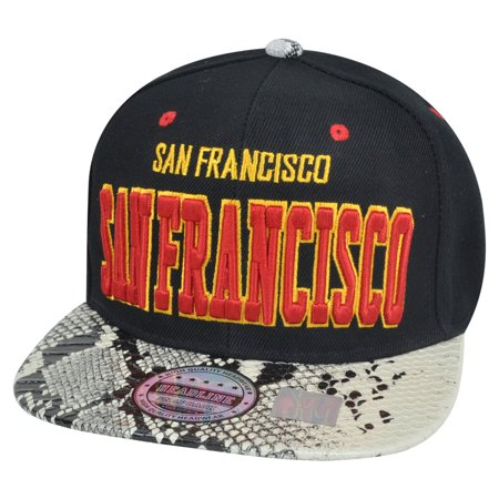 Animal Skin Hats (San Francisco Animal Snake Skin Faux Black Red Yellow Snapback Flat Bill Hat)