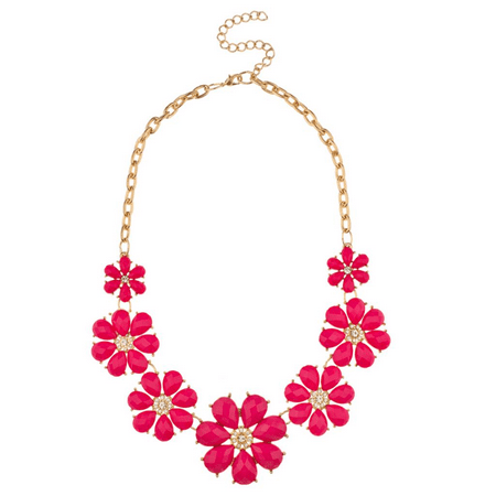 - Lux Accessories Red Fuschia Pave Flower Bib Statement Floral Chain Necklace