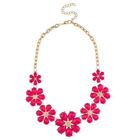 Lux Accessories Red Fuschia Pave Flower Bib Statement Floral Chain Necklace
