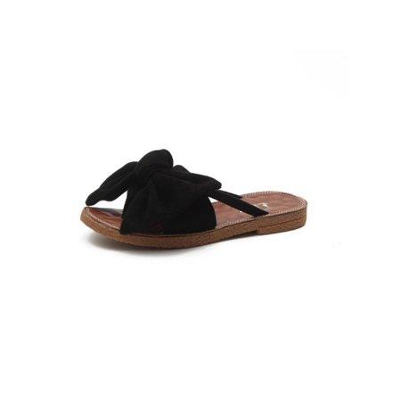 cb1473ab6e1f Women Bow Flip Flops Casual Mule Sliders Sandals Espadrille Beach Slippers  Flats - Walmart.com