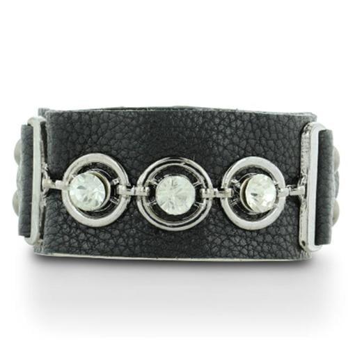 SuperJeweler A00332 Black Leather Rhinestone Studded Bracelet, Fits Wrist Sizes 6 - 8