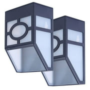 2-pack Solar Powered Wall Mount LED Light Outdoor Garden Path Landscape Fence Yard Lamp