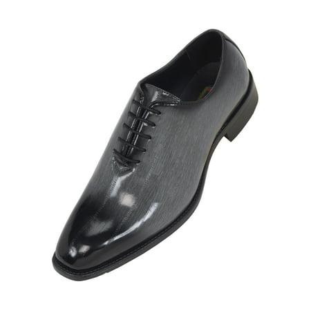 Army Navy Shoes (Bolano Mens Exotic Faux EEL and Croco Skin Oxford Dress Shoes with Black Burnished Toe)