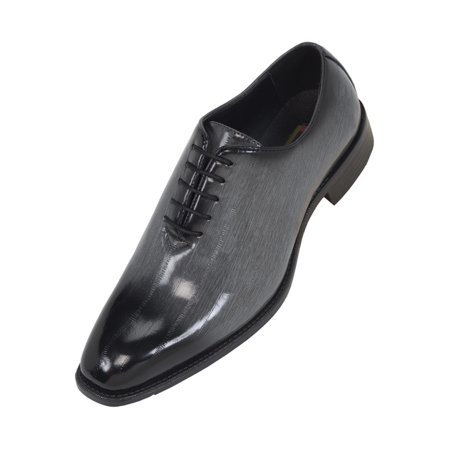 Bolano Mens Exotic Faux EEL and Croco Skin Oxford Dress Shoes with Black Burnished Toe ()