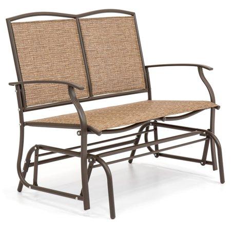 Porch Glider (Best Choice Products 2-Person Patio Loveseat Glider Bench Rocker for Deck, Porch - Brown )
