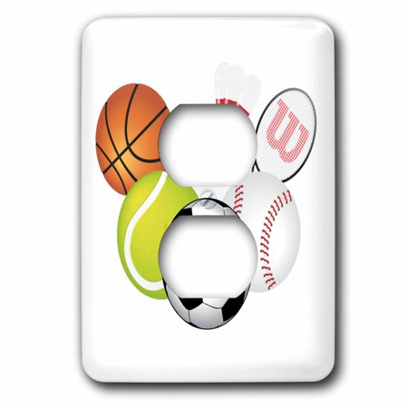 3dRose Sports Equipment - 2 Plug Outlet Cover (lsp_45174_6) Sports Equipment Light Switch Cover is made of durable scratch resistant metal that will not fade, chip or peel.  Featuring a high gloss finish, along with matching screws makes this cover the perfect finishing touch.