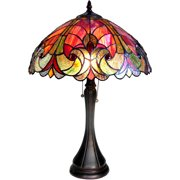 "Chloe Lighting Amor Tiffany-Style 2-Light Victorian Table Lamp with 16"" Shade"