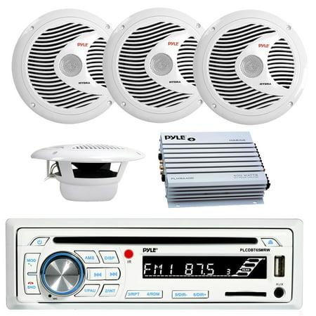 Pyle PLCDBT65MRW Bluetooth Marine Stereo Radio Receiver & Waterproof (2) 6.5'' Speaker Kit, CD Player, Pyle 150 Watts 6.5'' 2 Way White Marine Speakers, PLMRA400 Pyle 4 Channel 400 Watt