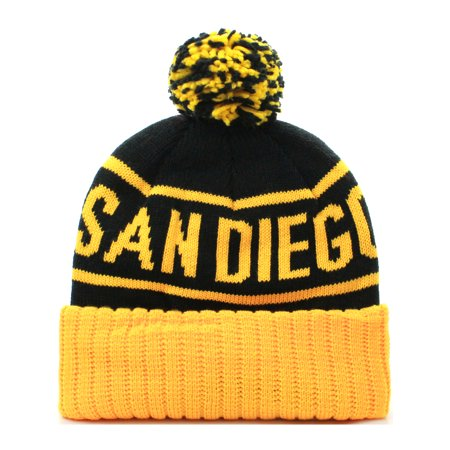 - American Cities San Diego Cuff Beanie Cable Knit Pom Pom Hat Cap - Black Yellow
