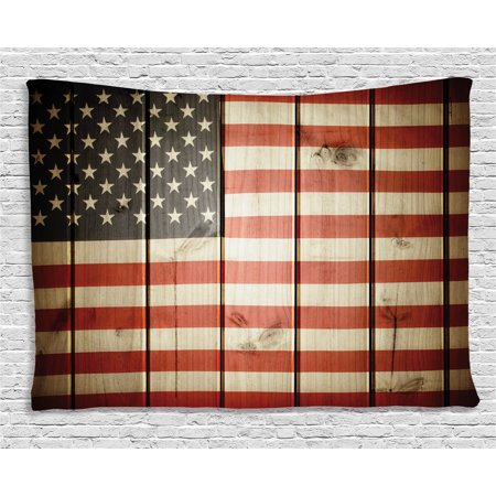 American Flag Decor Tapestry, Usa Flag over Vertical Striped Wooden Board Citizen Solidarity Kitsch Art, Wall Hanging for Bedroom Living Room Dorm Decor, 60W X 40L Inches, Blue Red, by - American Flag Tapestry