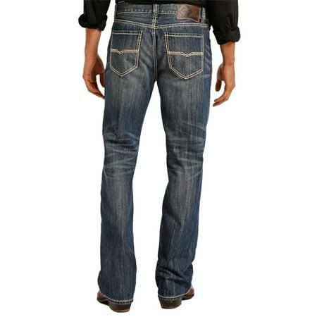 Double Lego - rock & roll cowboy mens double barrel straight leg jeans