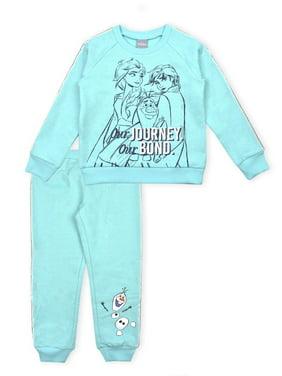 Disney Frozen 2 Anna Elsa Toddler Girl Glitter Racer Stripe Sweatshirt & Jogger Pants, 2pc Outfit Set