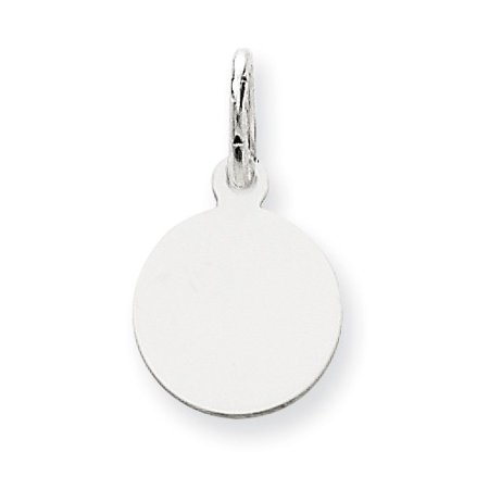 14k White Gold Plain 0.018 Gauge Round Engravable Disc Charm (0.7in long x 0.4in wide) White Gold Round Charm