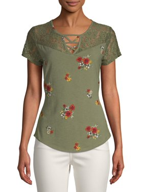 Juniors' Floral Printed Caged Lace Yoke Short Sleeve T-Shirt