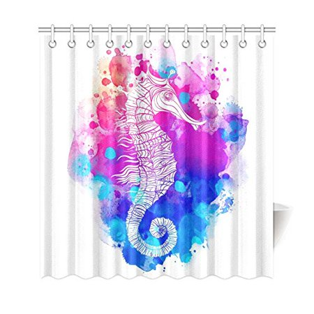 WOPOP Rainbow Seahorse Shower Curtain Watercolor Ocean Creature Polyester Fabric Bathroom Sets With Hooks 66x72 Inches