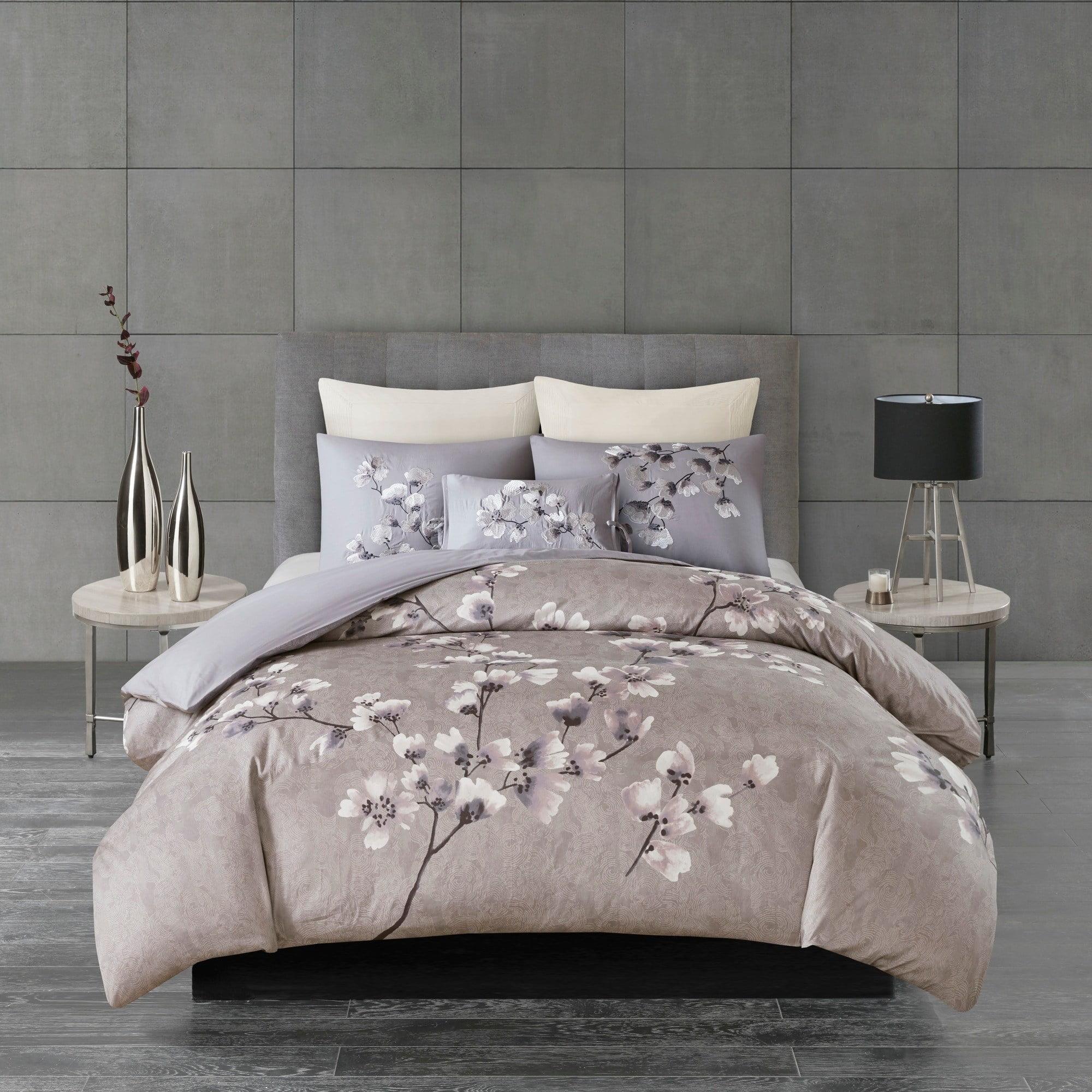 Natori N  Sakura Blossom Lilac Cotton Sateen Printed Comforter Set