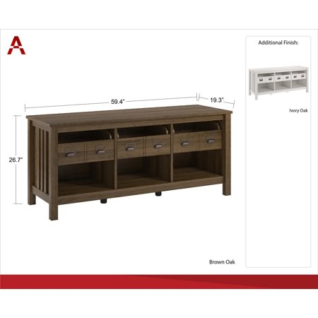 """Better Homes & Garden Clarence TV Stand for TVs up to 64"""", Brown Oak"""
