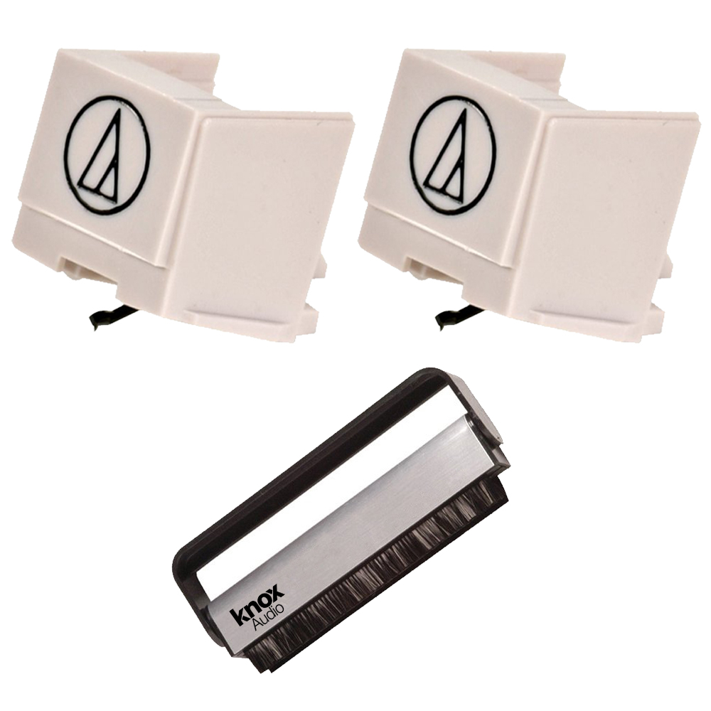 Audio-Technica ATN3600L Replacement Stylus for AT3600L (2-Pack) + Knox Vinyl Brush Cleaner