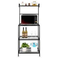 Ktaxon 4 Tier Black Bakers Rack Microwave Stand Storage Rack