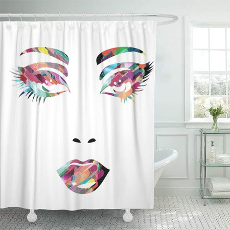 KSADK Diva Colorful Girl Face Makeup Women Cosmetic Lip Shower Curtain Bathroom Curtain 60x72 inch (Diva Shower Curtain)