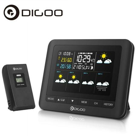 Digoo DG-TH8805 Wireless moon phase Five Day Forecast Weather Station Digital Full-Color Screen Indoor Outdoor Sensor Hygrometer Thermometer Barometer Calendar Alarm Clock