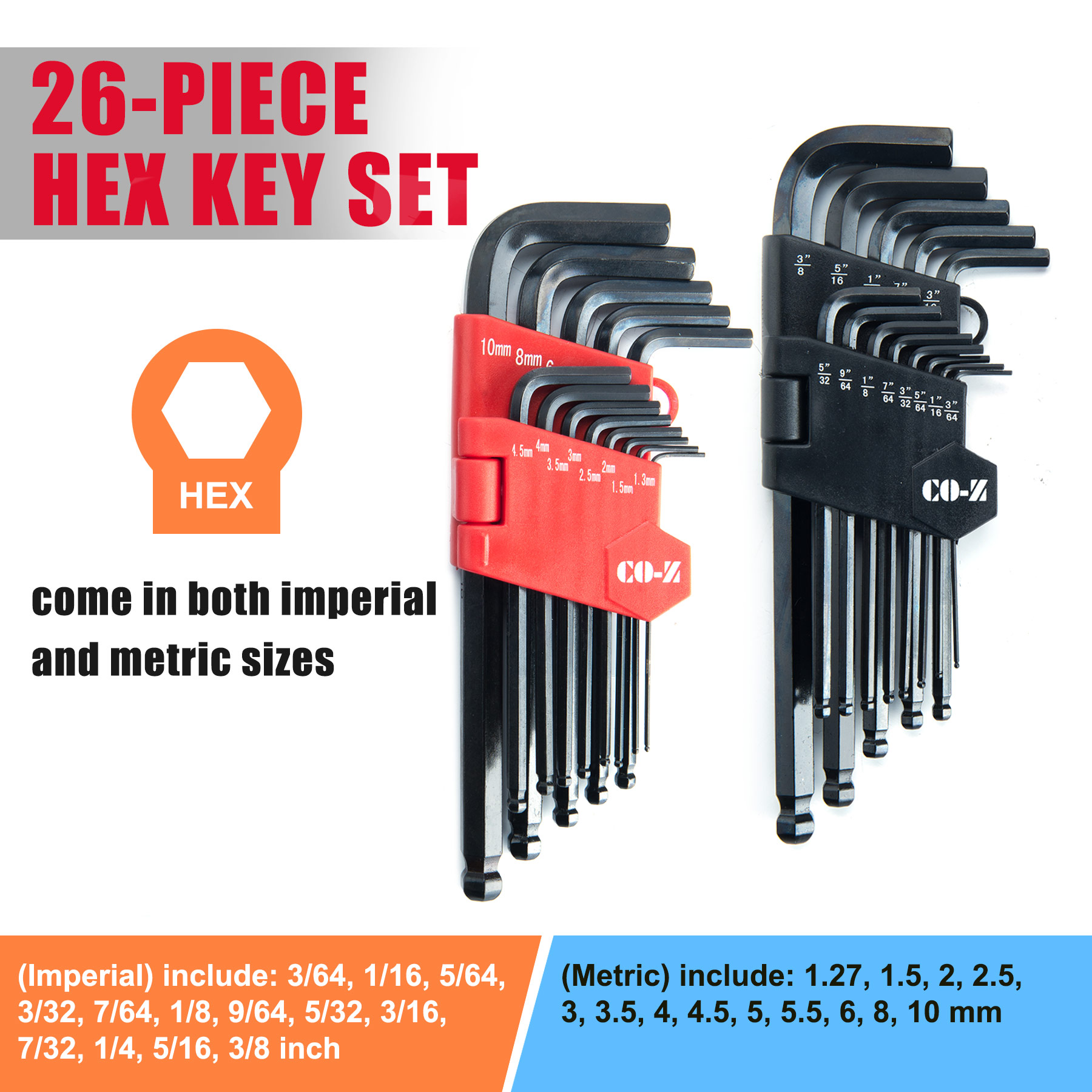 Hex Key Wrench Combo Chrome Vanadium Steel with Black-Oxide Finish 26 Pcs