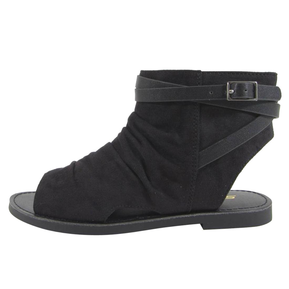 Soda IE04 Women's Backless Buckle Ankle Strap Flat Bootie Sandal
