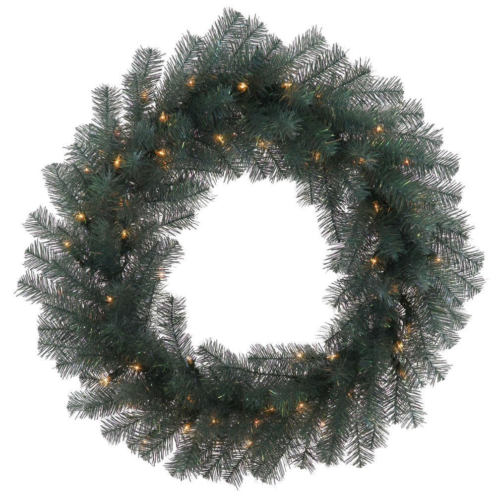 """24"""" Blue Crystal Pine Artificial Christmas Wreath ��� Warm Clear LED Lights"""